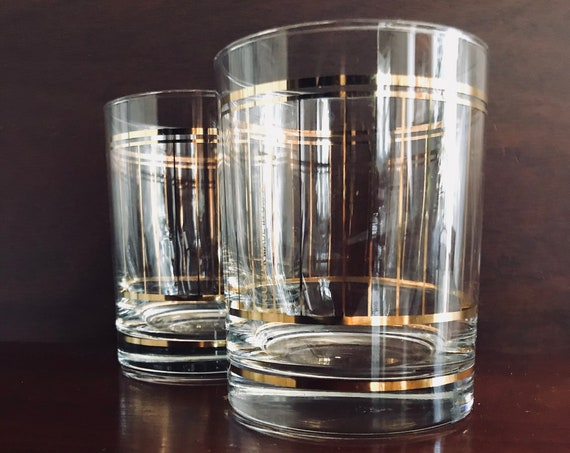 Mid Century Culver Glasses, Set of 2, Gold Stripes and Ring Around Base, Vintage Drinkware, Gifts for Him, Collectible glasses, Gift