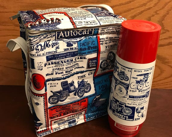 Vintage Automobile lunch bag with Thermos, Therm o Serv gift for Him, car lovers gift, collectible thermos, gift
