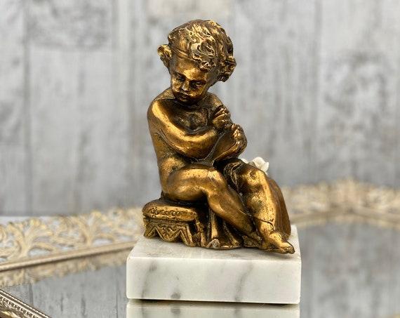 Vintage bronze Cherub on marble base Hollywood Regency decor Cottage Chic gift for her