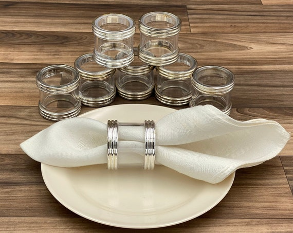 Vintage Silver Plated Napkin Rings, Made in Italy Landes Cristallo I Preziosi Crystal, Set of 8, Table decor