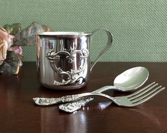 Sterling Silver Baby Cup Spoon Fork Baby Set, Luxury Baby shower Gift