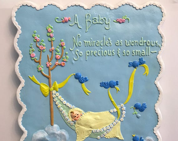 Nursery Wall Plaque Baby Poem hand painted Ceramic nursery decor