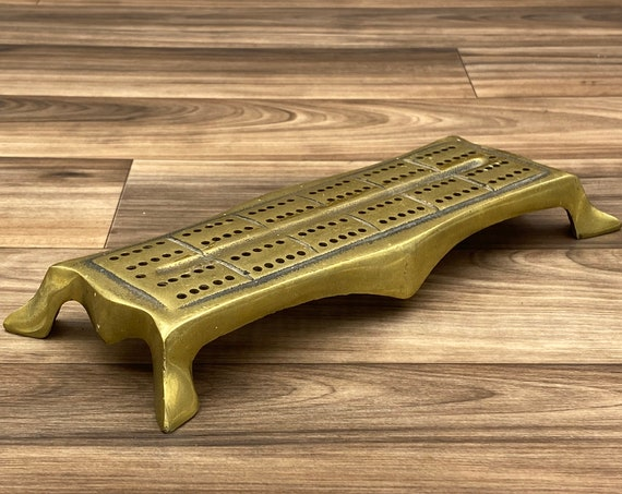 Mid Century Cribbage Board, Solid Brass Asian footed style, signed MECO Made in England, Game Room Decor, collectible, Gift for him