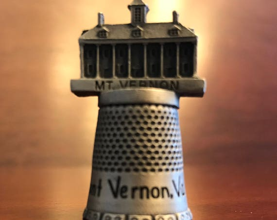 Pewter Thimble, Mount Vernon collectible Thimble, Fort collectible thimble, Mt. Vernon memorabilia, vintage sewing thimble, Sewing accessory