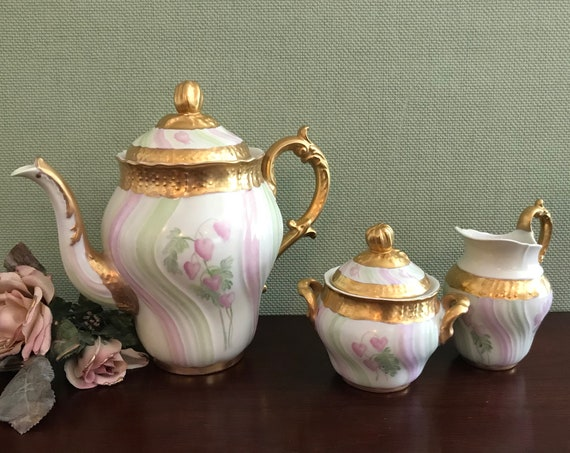 Vintage Hand painted Tea Set, Floral Teapot with matching cream and sugar