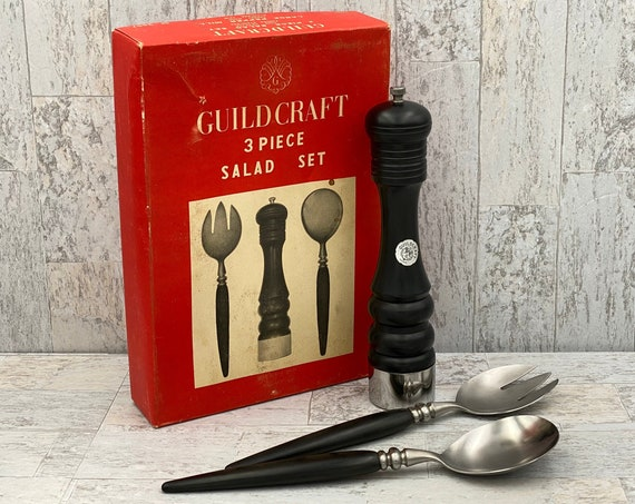 Vintage Salad set with Peppermill, RARE Guildcraft forged Ebony Rosewood, Wedding Gift