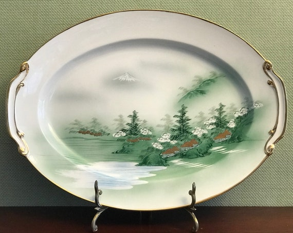 Mid Century Kutani China Platter, Asian china, Mt Fuji Scene, Yozan China, Estate China, Occupied Japan era China, Green Japanese porcelain