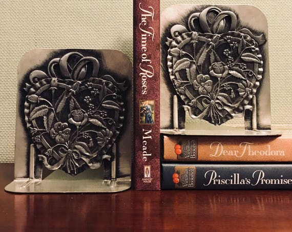 Vintage Heart shaped Floral Bookends, Flower bookends, Cast Pewter Bookends, Romantic Gift, Cottage chic, Gift for Her, Library, Office gift