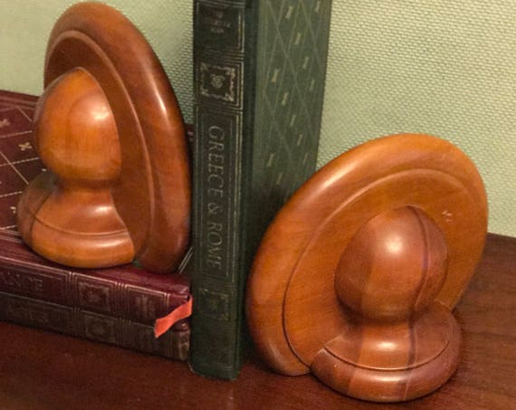 Rustic Wood Bookends, Vintage office Library decor, Gift for Book lover, Home decorating