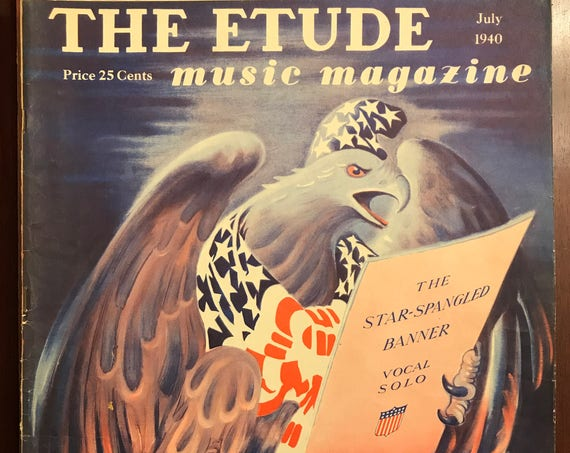Vintage Etude Magazine, Eagle with Star Spangled Banner, July 1940, Patriotic music magazine, collectible music magazine, paper ephemera