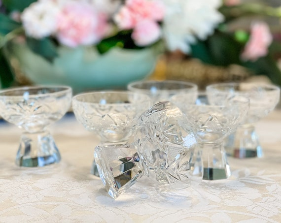 Vintage Cut Crystal Glasses, solid octagonal Base, round bowl, collectible brilliant crystal