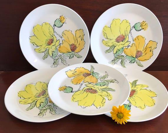 Dessert Plates, Vintage Johnson Bro Sierra Plates white yellow flowers, Ironstone plates Cottage Chic, gift for her, gift