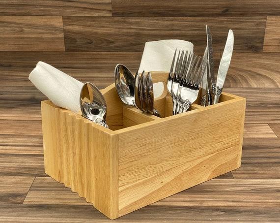 Vintage Flatware caddy, Wood silverware holder, Utensil carrying bin, Cutlery Storage