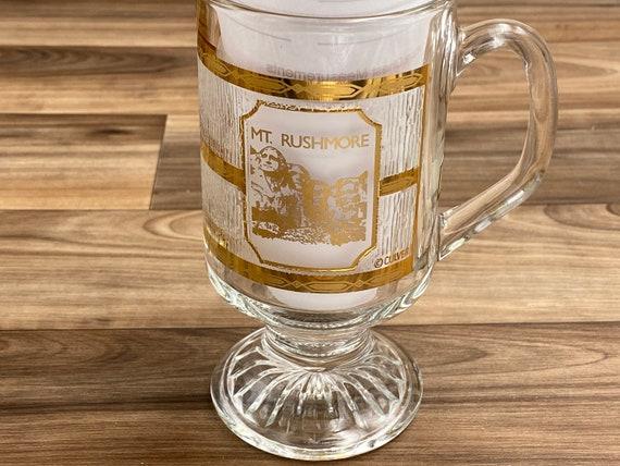 Mt Rushmore souvenir glass Mug, Culver 22 Ct gold Gilt Collectible Glass, Irish Coffee Mug