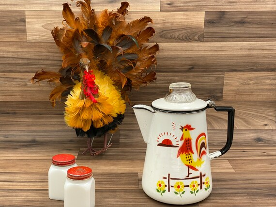 Vintage Enamelware Coffee pot, Rooster and sunflowers, rustic farmhouse, country kitchen, Glamping, Camping Gear, rustic Cabin