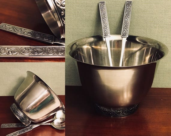 Vintage Stainless Salad Bowl serving set, Stanley Roberts Hollowware, gift for Her, Hostess Gift