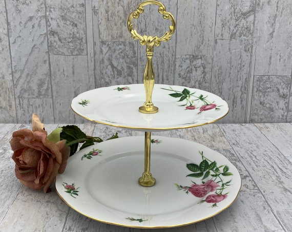 Tiered Serving tray, Rose Porcelain Tea tray Display stand, Tea party dishes
