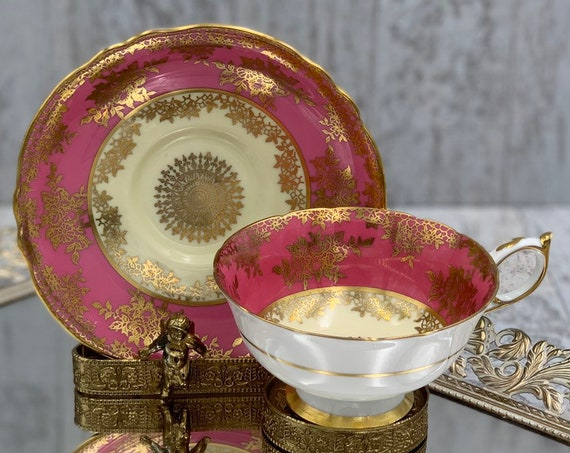 Vintage Paragon Teacup, Magenta with Gold Medallions Tea cup and saucer Gold Gilt footed Tea cup, gift for Her, Collectible
