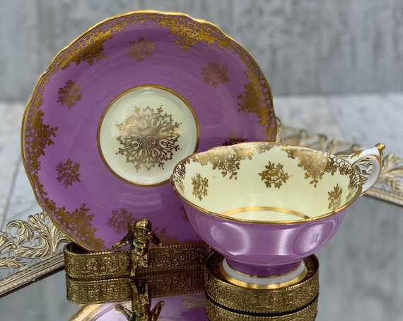Vintage Paragon Teacup, Lavender with Gold Medallions Tea cup and saucer Gold Gilt footed Tea cup, gift for Her, Collectible