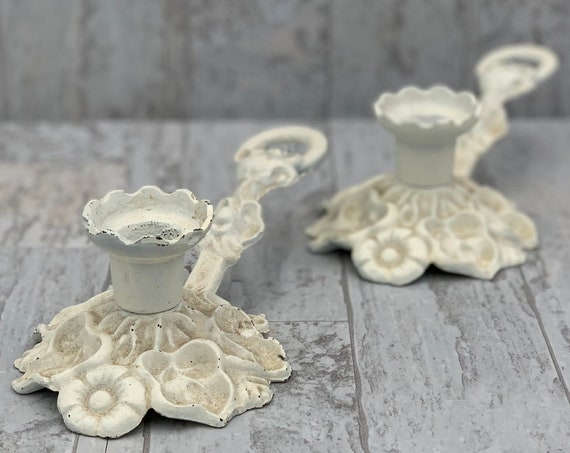 Ornate Candlesticks, Shabby Chic candlestick holders, embossed flowers and leaves Vintage metal Chambersticks, Rustic home decor