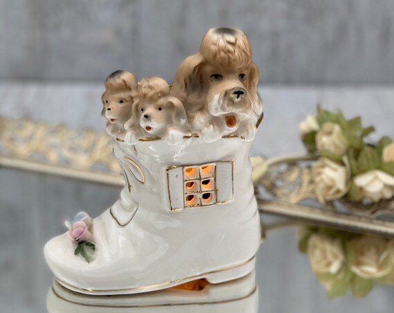 Vintage Puppy Nightlight by I W Rice Company, little Victorian boot with puppies, Dresser Light, gift for her