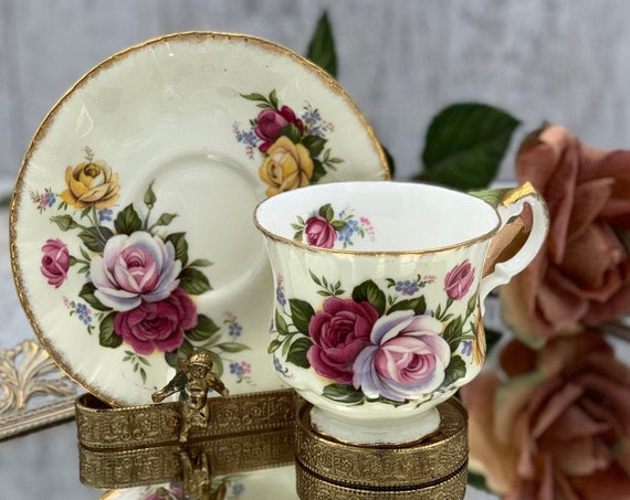 Vintage Paragon Rose Teacup, Bone China Tea cup and saucer Gold edges footed Tea cup, gift for Her, Collectible