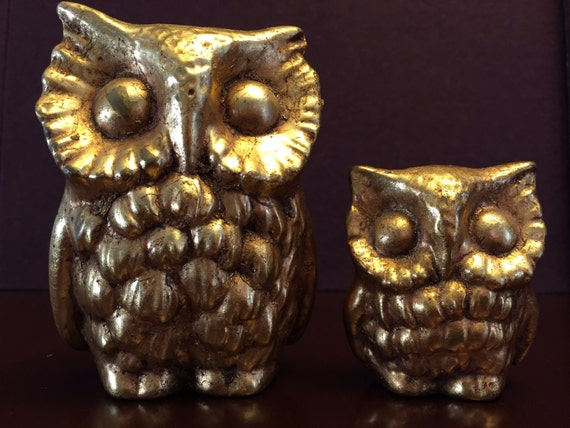 Vintage Ceramic Owl figurines, Painted Gold Owls, Mommy Baby Owl set, Hollywood Regency Owls, Set of Owl, Collectible owls, Woodland decor