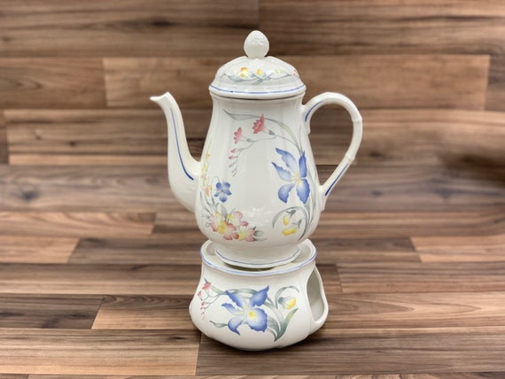 Vintage Coffee Tea Pot and Warmer, floral Villeroy and Boch Riviera Porcelain Teapot, Tea Party, Gift for Her