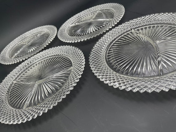 Vintage Diamond Point Grill Plate, Glass Dinnerware, Indiana Glass Dishes, 4 Piece set