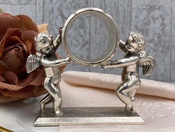 Figural Napkin Ring, 1970s reproduction Meriden Brittania Double Cherub Napkin holder, Victorian gift