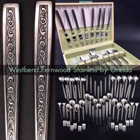 Vintage Oneida Westbend Fernwood Flatware set, service for 8, Vintage Silverware chest, glossy Stainless Floral embossed silverware