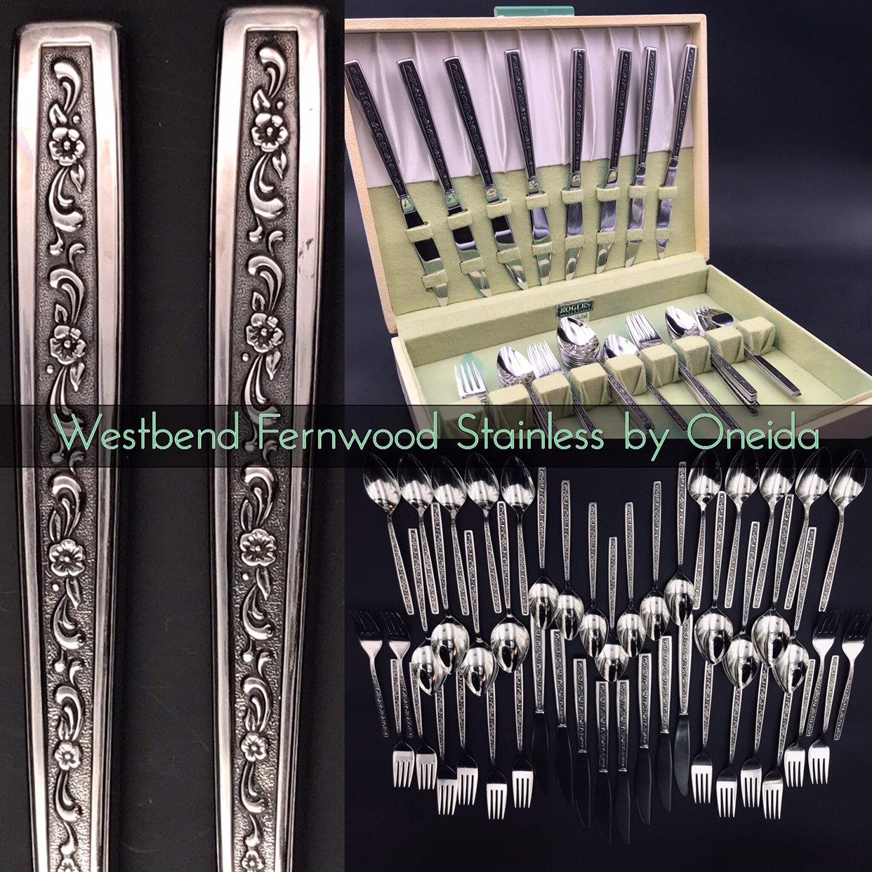Vintage Oneida Westbend Fernwood Flatware Set Service For 8 Vintage Silverware Chest Glossy Stainless Floral Embossed Silverware