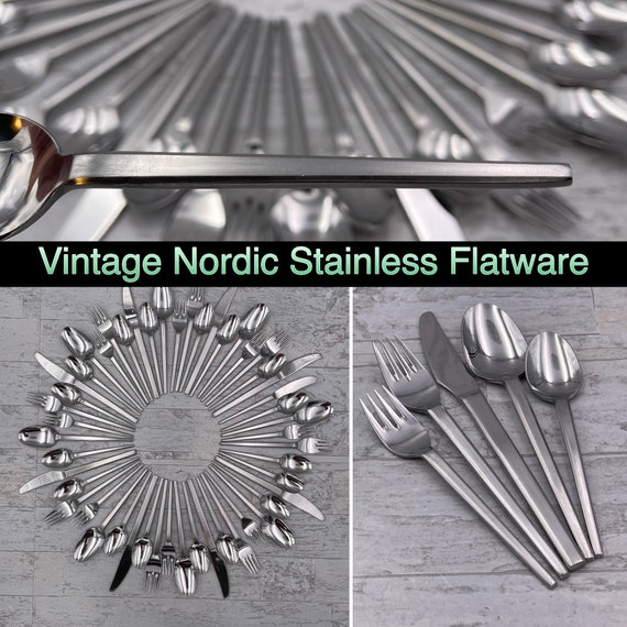 Vintage Danish Modern Stainless Flatware Nordic by Hull, MCM Flatware Service for 8, Silverware set