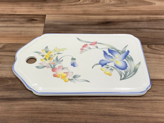 Vintage Cheese Board Floral Villeroy and Boch Riviera Porcelain Trivet, Porcelain Wall Decor, Gift for Her