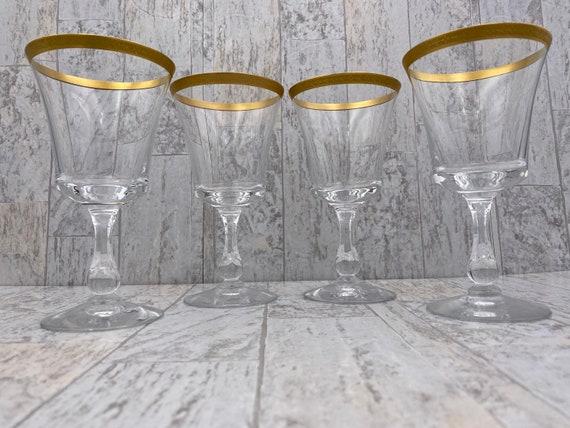 Gold Rim Crystal Goblets, Crystal Water Goblets, Gold encrusted Vintage drink ware, Hollywood Regency