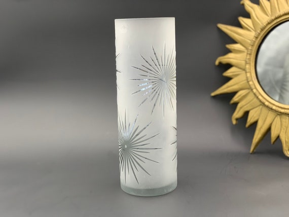Atomic Starburst Frosted Glass Vase, Tall Cylinder Bouquet Holder, Celestial Night Sky