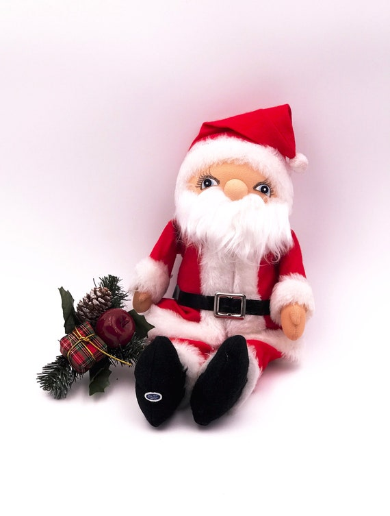 Vintage plush felt Santa doll, made in Japan sticker, Santa doll with Stockinette painted face New Vintage stock