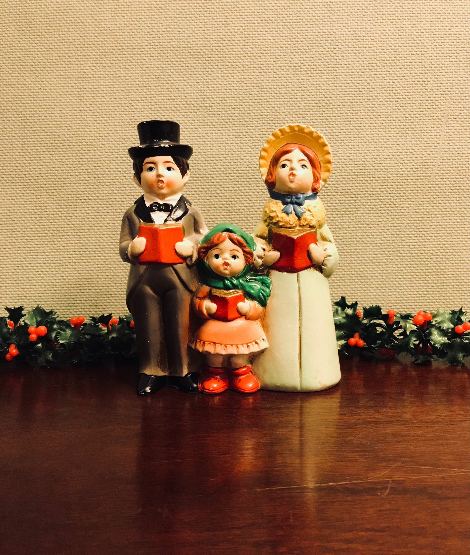 Ceramic Christmas Caroler Figurines Parma By Thepokeypoodle: Christmas Music Box Vintage Caroling Family Figurine, Hand