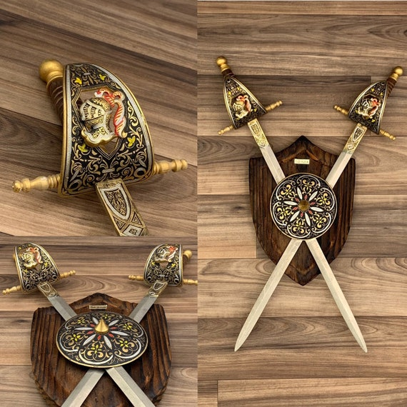 Crossed Swords Wall Hanging Knights Made in Spain Coat of Arms Wall Plaque dark Wood