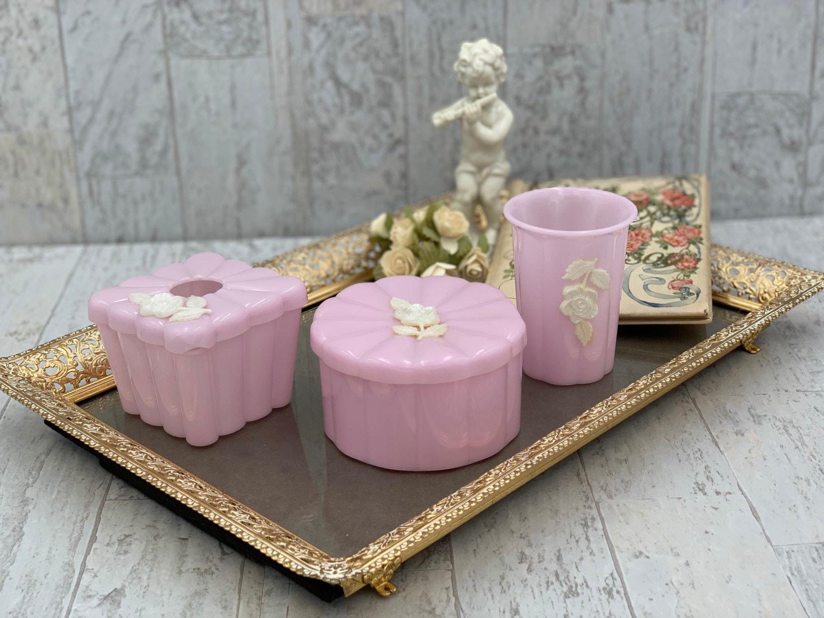 Vintage Menda Bathroom Vanity Set Pink With White Roses