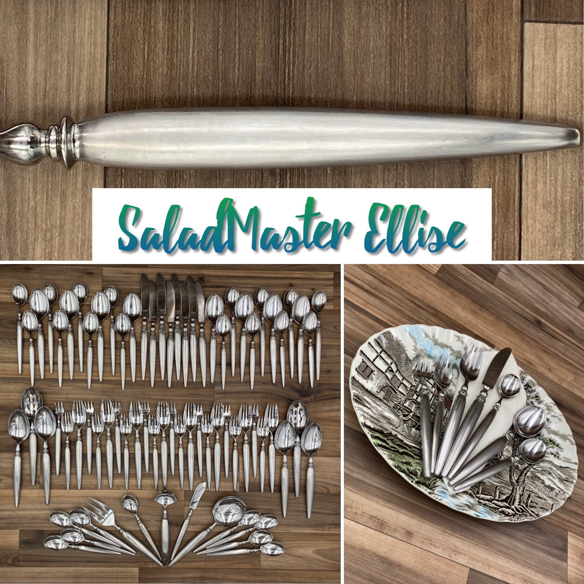 Rare Flatware Set Vintage Saladmaster Ellise Complete Service For 8 Forged Cutlery Set Silverware Chest