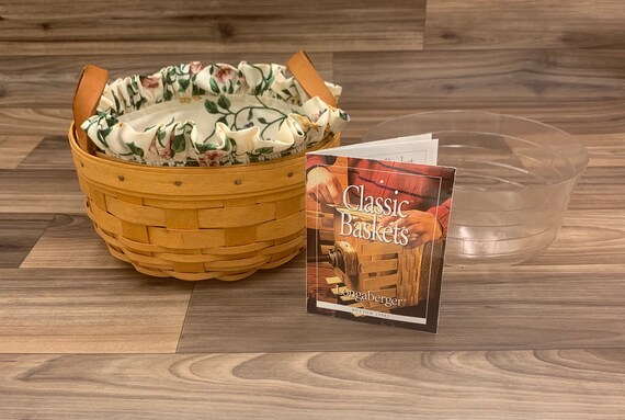 Vintage Longaberger Basket Rustic Home Decor, Round Basket with fabric liner Lodge Decor