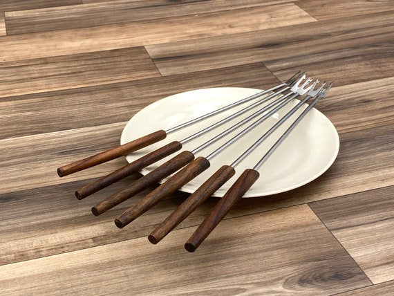 Vintage Fondue Forks Teakwood Danish Modern, Set of 6 fondue forks, Fondue Party forks