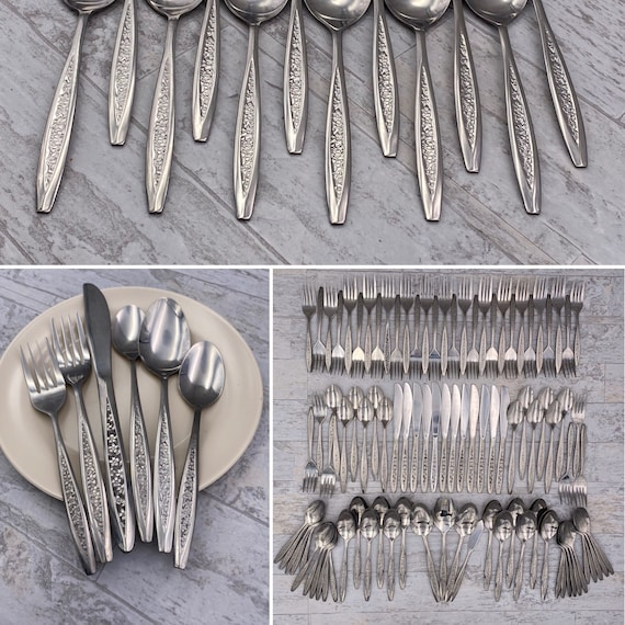 Vintage Floral Stainless Flatware set, Service for 12 CustomCraft Stainless Silverware with Floral Textured handle