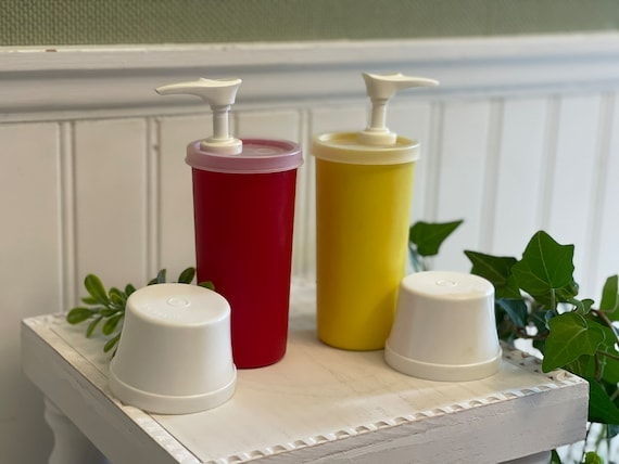 Vintage Tupperware Ketchup and mustard dispensers, catsup condiment containers, Outdoor entertaining.