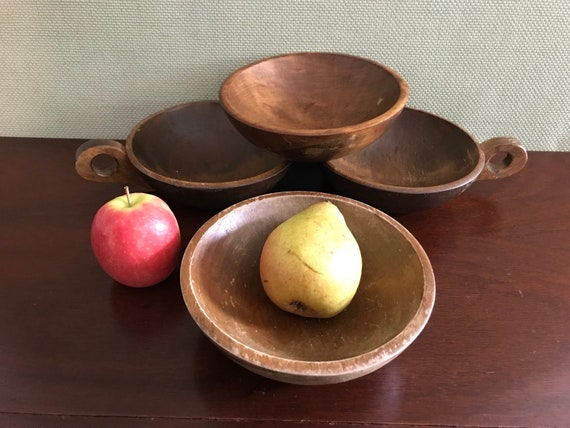 Rustic Stoware wooden Bowls, handmade wooden bowl set, bowls with handles, carved wooden bowls, Rustic farmhouse, Rustic Home Decor, Vermont