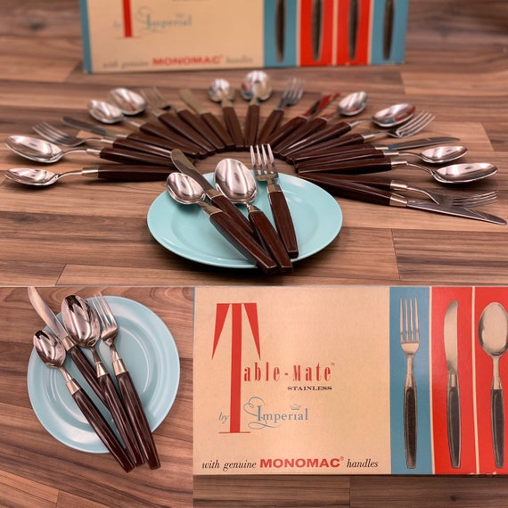 RARE Table Mate by Imperial Stainless Flatware set, in the Original Box Brown Monomac Handles, Rustic Cabin Vintage Trailer Camping Glamping