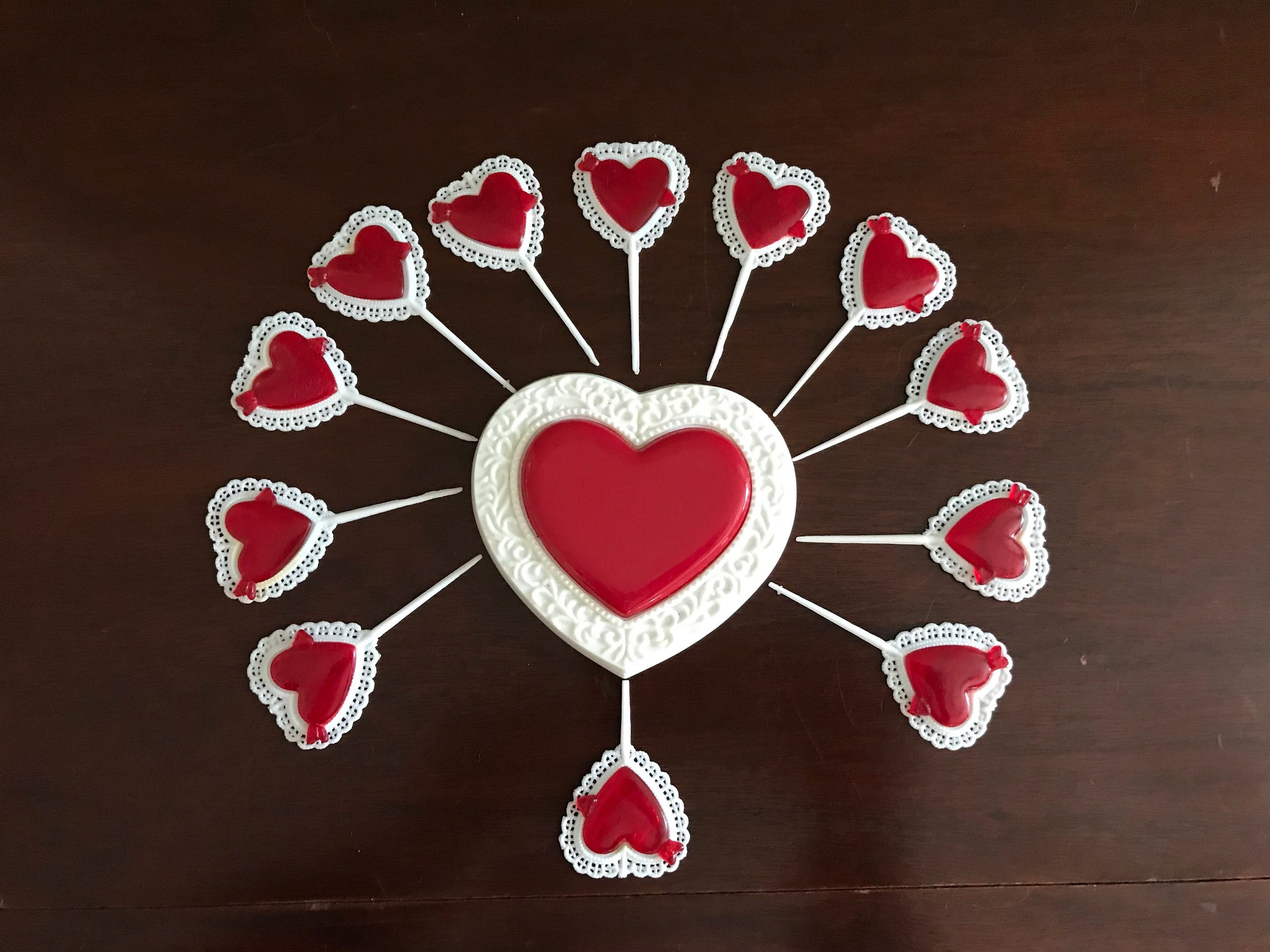 Vintage Wilton Cake Toppers Red Heart Cake Tops Valentines Day Cake