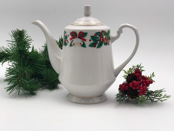 Vintage Christmas China Teapot, Royal Majestic Holiday Cheer pattern Gold trim, Holiday Tea party