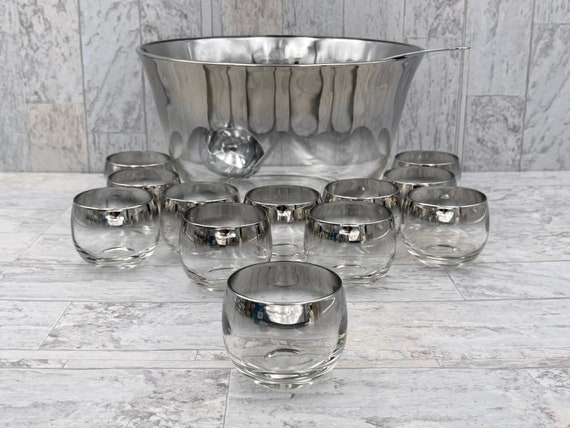 Dorothy Thorpe style Drinkware, Rare Silver Ombré Punch Bowl and Roly Poly Glasses, Mid Century Modern Glass Set